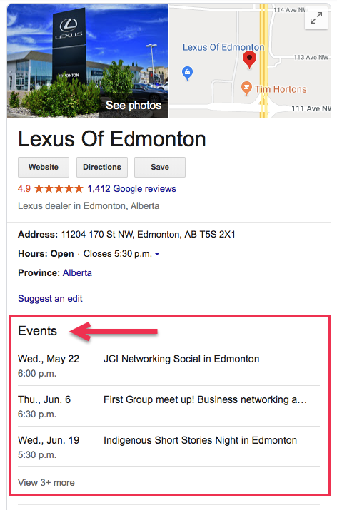 Post events in Google My Business